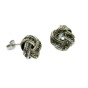 Marcasite Knot Earrings Solid Sterling Silver Studs Gift Boxed