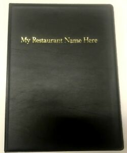 QTY 20 A4 MENU FOLDERS IN PVC WELDED BLACK WITH YOUR RESTAURANT NAME PRINTED
