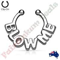 """Silver Ion Plated BLOW ME """"Non Piercing"""" Septum Hanger"""