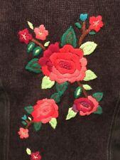 Alfred Dunner Black Denim Vest sz 18 Floral Knit Back Embellished Embroidered