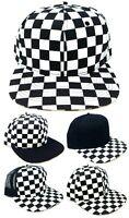 BLACK AND WHITE CHECKER PRINT FLAT BILL ADJUSTABLE SNAPBACK HAT CAP CHESS BOARD