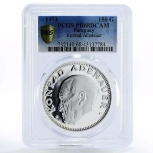 Paraguay 150 guaranies Konrad Adenauer PR68 PCGS silver coin 1974