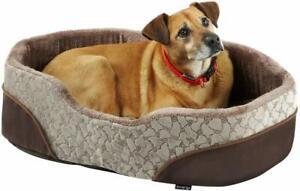 Bunty Mocha Dog Bed Soft Washable Fleece Fur Cushion Warm Pet Basket - Cream - L