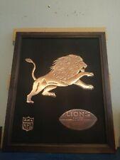 (Vtg) 1960's detroit lions Nfl Acrometal Football Copper wall plaque sign mint