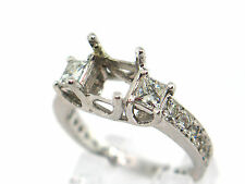 1.37 CT Natural diamond semi mount ring/setting only  VS2/F 14K white gold