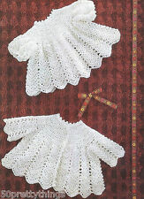 "VINTAGE BABY 4 ply CROCHET PATTERN 18"" 19"" 20"" DRESS & MATINEE COAT"