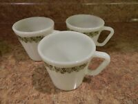 3 Pyrex 10 oz. Milk  Glass Mugs Cups Corelle Crazy Daisy Design #1410