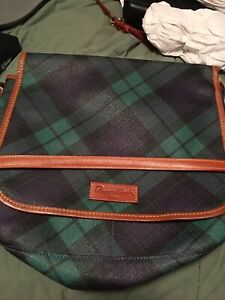 Dooney And Bourke GUC Large Green Plaid Messanger
