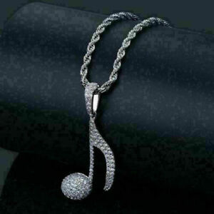 14K White Gold Musical Sign Wedding Pendant Without Chain 2.48 Ct Round Diamond