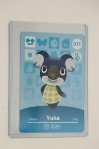 YUKA AMIIBO ANIMAL CROSSING CARD SERIES 1 #071 HORIZONS MINT NEVER SCANNED