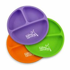 Sweet Baby Carrot Toddler Divided Plates Soft Unbreakable Safe BPA Free Fun 3PK