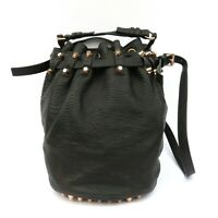 ALEXANDER WANG Black Grained Leather Rose Gold HW Studded Diego Bucket Bag GUC
