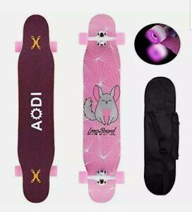 """AODI 46"""" Longboard Skateboard Complete Canadian Maple Wood Double Kick (pink)"""