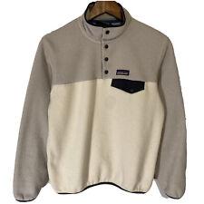 Men's Patagonia Synchilla Snap-T Gray White 2 Tone Jacket Fleece Pullover Small
