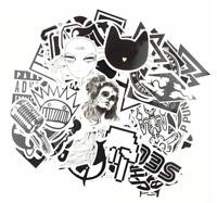 Black and White Sticker Pack, Vinyl Decal, JDM Car Graffiti Random Mix Lot 60 pc