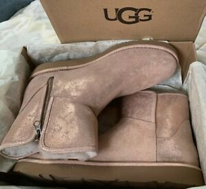 NEW UGG Abree Mini Stardust Rose Gold Shearling Ankle Boots Sz US 11 UK 9 EU 42