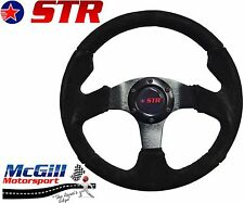 "STR 13"" PRO Flat Steering Wheel Black Suede, Black Spars"