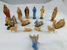 Vintage Nativity Figures Detailed 60's  Hard Plastic Christmas Decorations