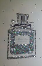 A4 Holographic silver and diamante dior inspired perfume bottle canvas