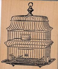 """bird cage stamp fran. Wood Mounted Rubber Stamp 3  1/2 x 3""""  Free Shipping"""
