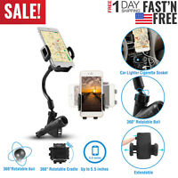 Dual USB Port Car Charger Cell Phone Mount Holder for Note iPhone 6 Plus Samsung