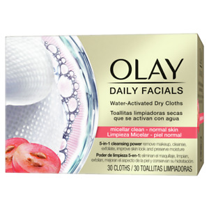 Olay Daily Facials Regular Dry Cloths - 5-in-1 Cleansing Power - Water Activated