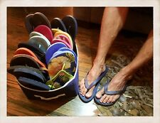 13 pairs -Used/Worn  Men's Flip Flops -Size 10-11's - Hollister, GAP, Old Navy