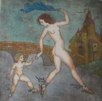 "Rare! Yuri Kokoyanin Etching W/ Watercolor ""Venus and Cupid"" Custom Git Frame"