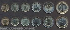 TURKEY COMPLETE COIN SET 1+5+10+25+50 Kurus +1 Lira 2009 FIRST ISSUE UNC LOTof 6