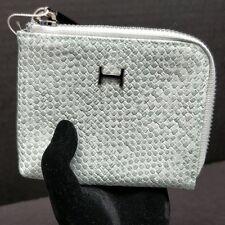 H Halston Kendall Zip Corner Mint Woven Card Holder