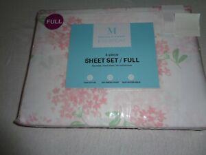 New Martha Stewart FULL Sheet Set - 100% Cotton Sateen Hydrangea floral