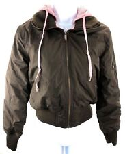 Lei Coat Women's Size Small Brown Pink Layered Look Removable Hood Zip Up Jacket