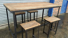 NEW INDUSTRIAL RUSTIC VINTAGE BAR TABLE DINING SET & 4 x STOOLS