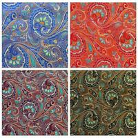 Faux Silk Brocade (Colorful Paisley) Jacquard Damask Kimono Fabric Material BL18
