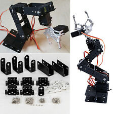 6 DOF Mechanical Robotic Kit Rotating Arm Clamp Claw Mount Robot DIY Set Black