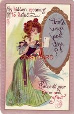 1909 emboss MY HIDDEN MEANING TO DETECT PAUSE AT YOUR MIRROR AND REFLECT - Dwig