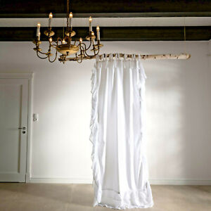 Frills weiß Gardine Vorhang Romantik Shabby chic Landhausstil Volant 90cmx230cm