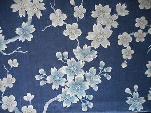 """JOHN LEWIS """"LORELAI"""" 2.3 metres curtain / blind fabric FLORAL NAVY BLUE"""