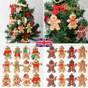 UK 12Pcs Gingerbread Man Christmas Tree Hanging Pendant Xmas Tree Decor Ornament