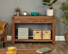 Shiro Premium Solid Walnut Dark Wood Large Console Table With Drawers