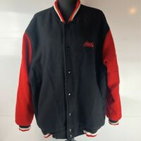Coca Cola Auburn Sportswear Mens Varsity Bomber Jacket Blue Red Color Block XXL