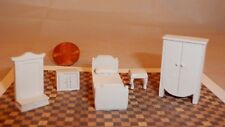 Miniature Dollhouse Furniture 1/4 scale 1/48 White Plaster Bedroom Furniture