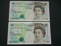 A PAIR OF 1999 LOWTHER £5 NOTES UNCIRCULATED AND CONSECUTIVE  DUGGLEBY REF:B380