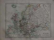 1900 VICTORIAN MAP ~ EUROPE ~ FRANCE BRITISH ISLES SPAIN ITALY GERMANY TURKEY