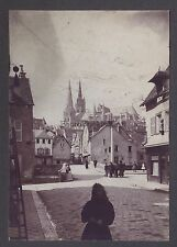 Chartres Scène de Rue Instantané France Vintage citrate ca 1900