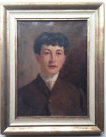 Antique Impressionist oil painting 19th century Portait young Man Kaufmann c1888