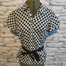M&S Black & Cream Semi Sheer Spotty Ladies womens belted Blouse 50s vibe 12 uk