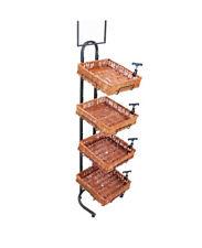 4 Tier Basket Stand Sign Clips Wicker Bakery Rack Produce Food Floor Display