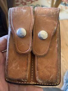 Vintage Brown Leather BIANCHI 20-C .45 Auto SW 59 BRNG 9M/M Ammo Pouch/ Brown