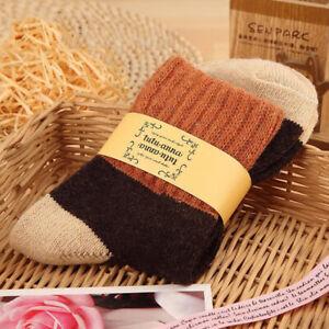 Female Women Socks Cotton Rabbit Wool Thicken Patchwork Winter Thermal Socks us